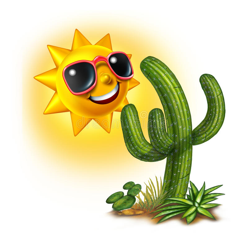 Cactus en Zon stock illustratie