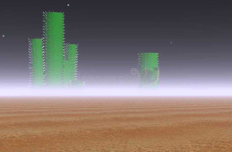 Cactus enorme en una niebla ilustración del vector