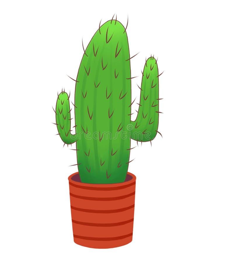 Cactus espinoso largo en un pote rojo libre illustration