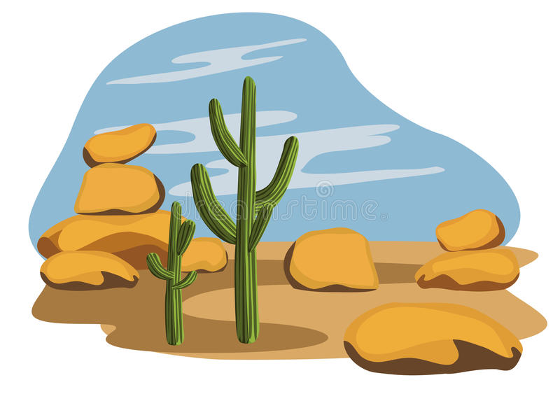 Cactus et désert illustration de vecteur