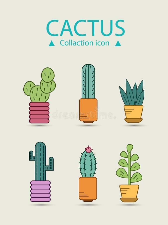 Cactus et ensemble succulent A inclus les icônes comme usine, épine, décoration et plus illustration stock