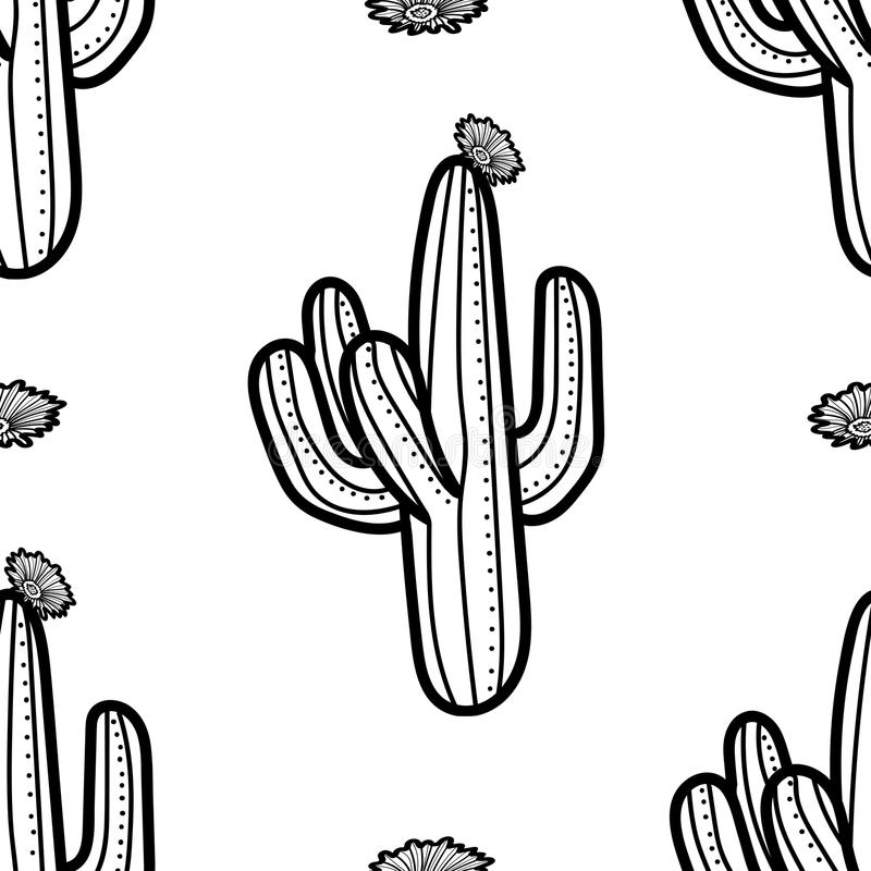Cactus et fleur dans le contour noir sur le fond blanc Seamles illustration libre de droits