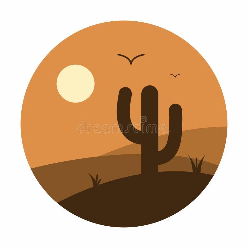 Cactus et montagnes dans le paysage de désert Coucher du soleil Vecteur illustration de vecteur