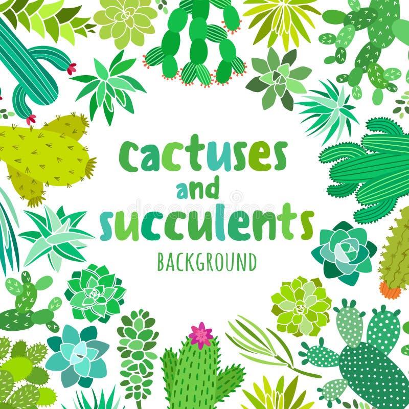 Cactus et succulent mignons Dirigez le cadre, bannière, carte, calibres d'invitation illustration libre de droits