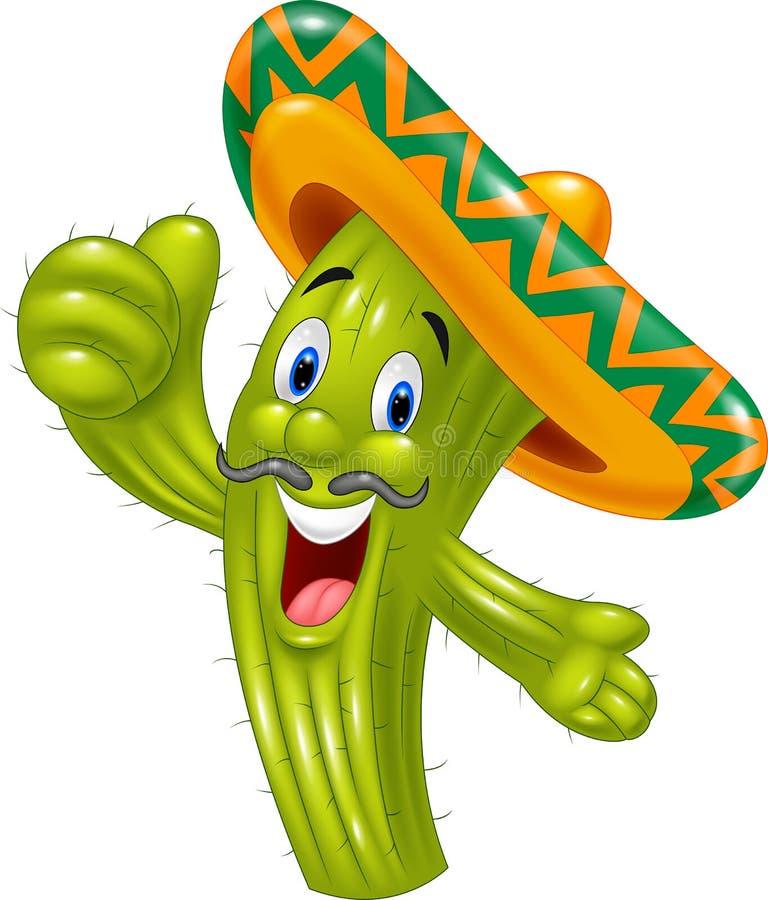 Cactus felice del fumetto che dà pollice su illustrazione vettoriale