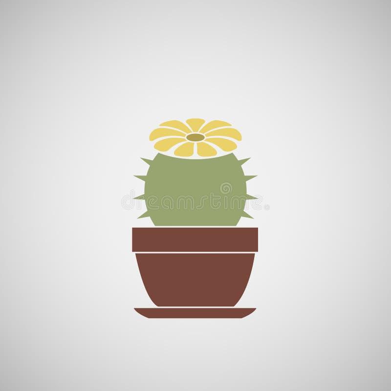 Cactus fleurissant dans un pot photo stock