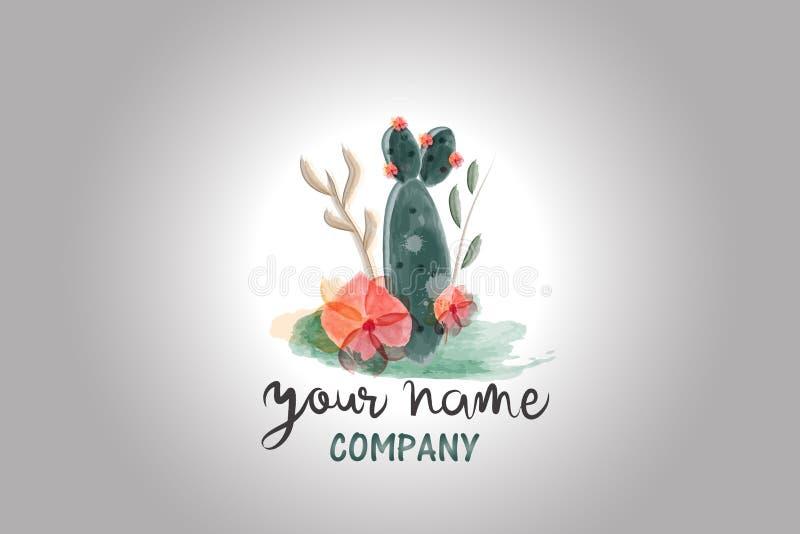 Cactus floral watercolor logo vector image stock illustration