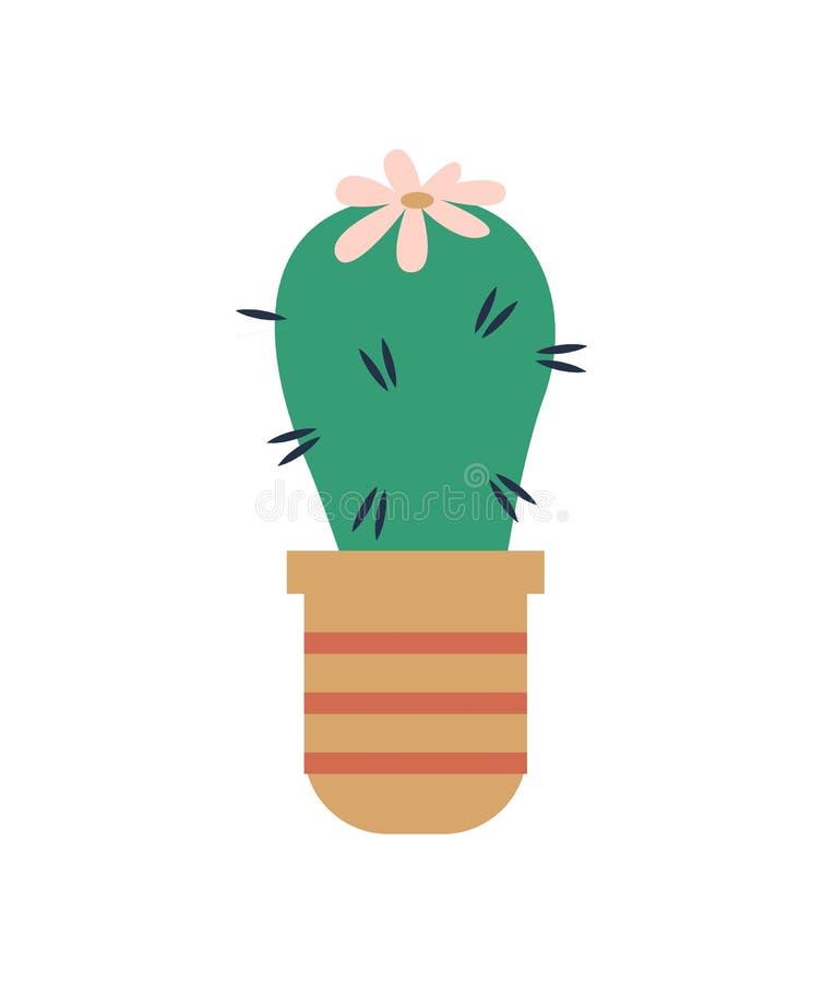 Cactus floreciente en vector del pote, icono aislado planta ilustración del vector