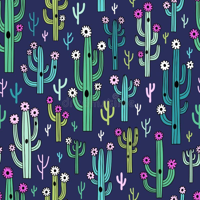 Cactus florecientes lindos en fondo azul marino libre illustration