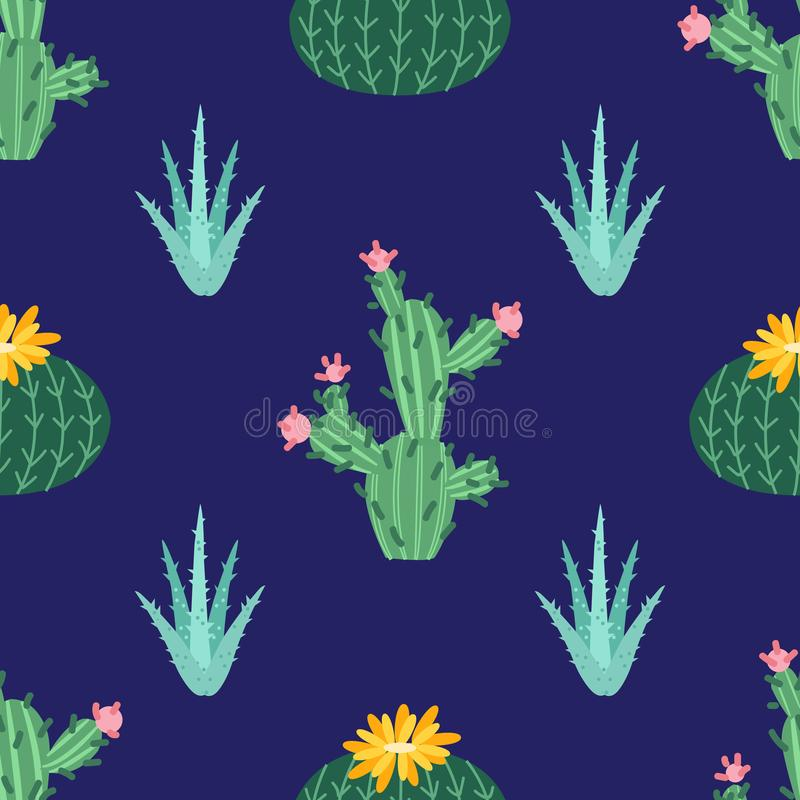 Cactus flower. Bright cacti, aloe leaves, exotic cactuses plants succulent summer desert tropical flora cartoon, seamless pattern royalty free illustration