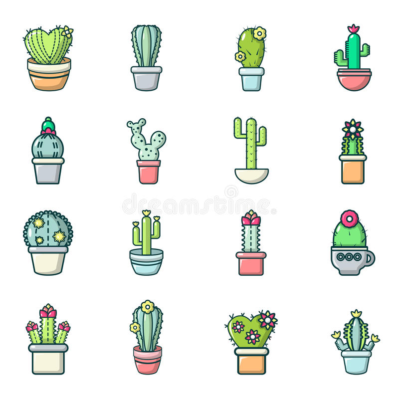 Cactus flower icons set, cartoon style vector illustration