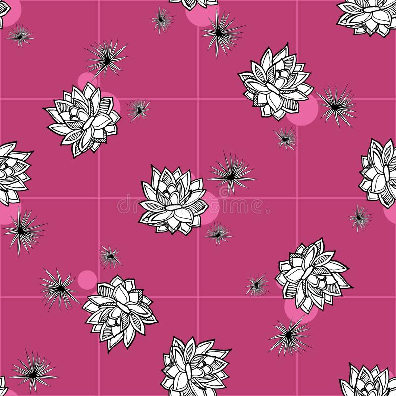 Cactus flower seamless vector pattern. Vector hand drawn pink succulent cactus illustration. Seamless plant wallpaper. vector illustration