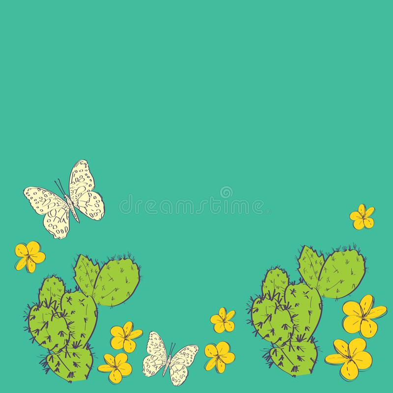Cactus with flowers butterflies sketch, contour green orange yellow background. simple ornament, Can be used for greeting card stock illustration