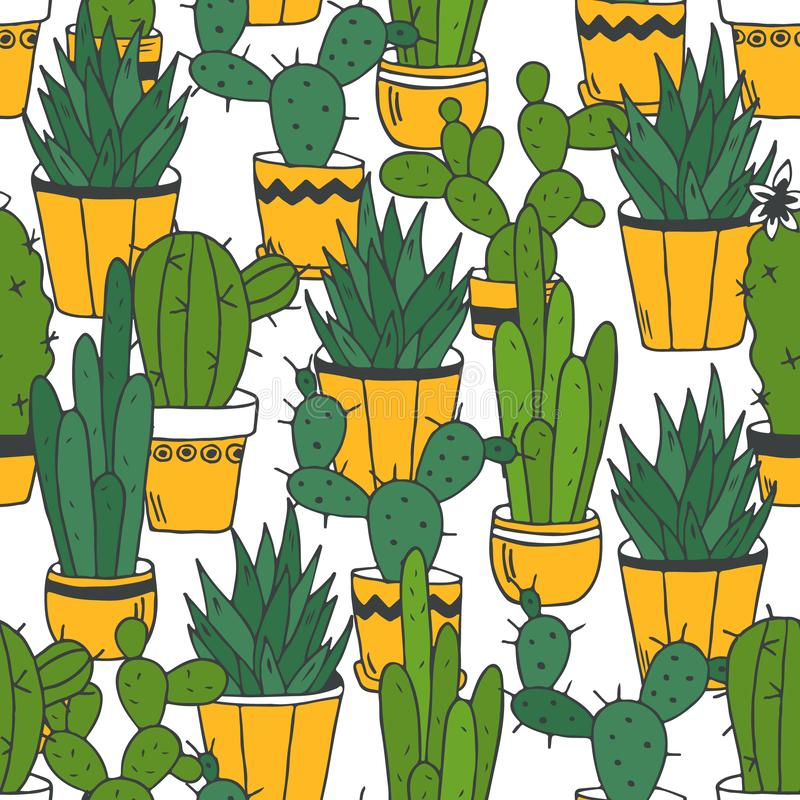 Cactus, fondo decorativo Modelo incons?til colorido con los cactus en potes libre illustration