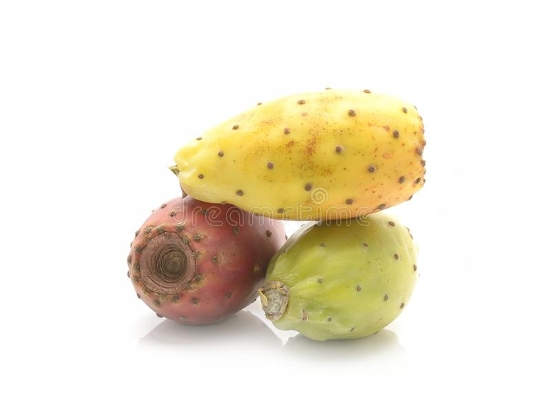 Cactus fruit or Prickly pear isolated on white background. stock photo