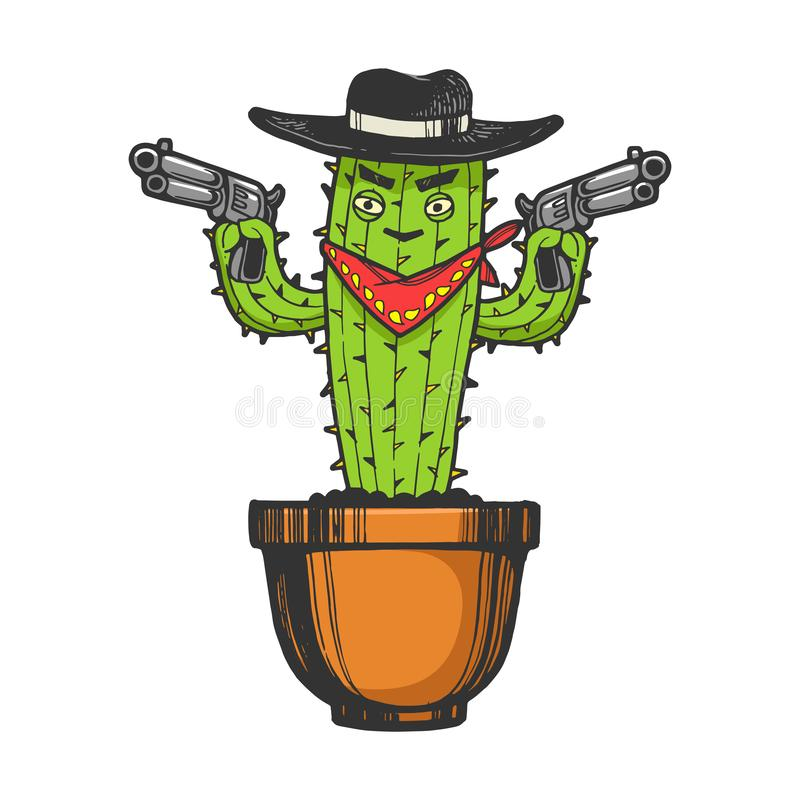 Cactus gangster bandit sketch engraving vector. Cartoon mexican cactus character gangster bandit with pistol revolver guns engraving sketch vector illustration royalty free illustration