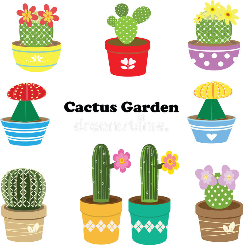 Cactus Garden. Most cacti live in habitats subject to at least some drought. Many live in extremely dry environments, even being found in the Atacama Desert, one stock illustration