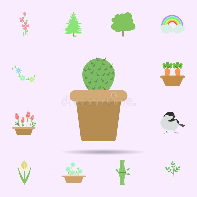 cactus gekleurd pictogram Universele reeks van aard voor websiteontwerp en ontwikkeling, app ontwikkeling stock illustratie