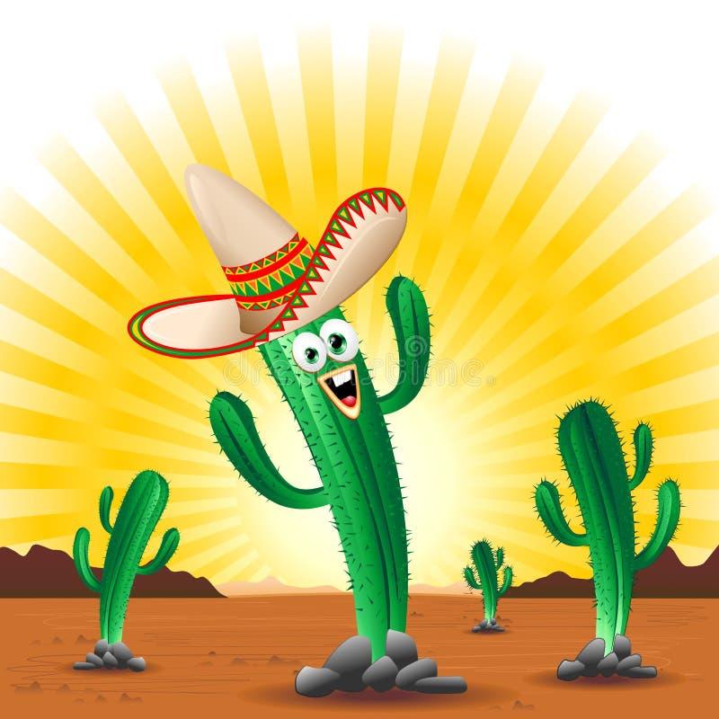 Cactus Gelukkig Beeldverhaal Mexico royalty-vrije illustratie