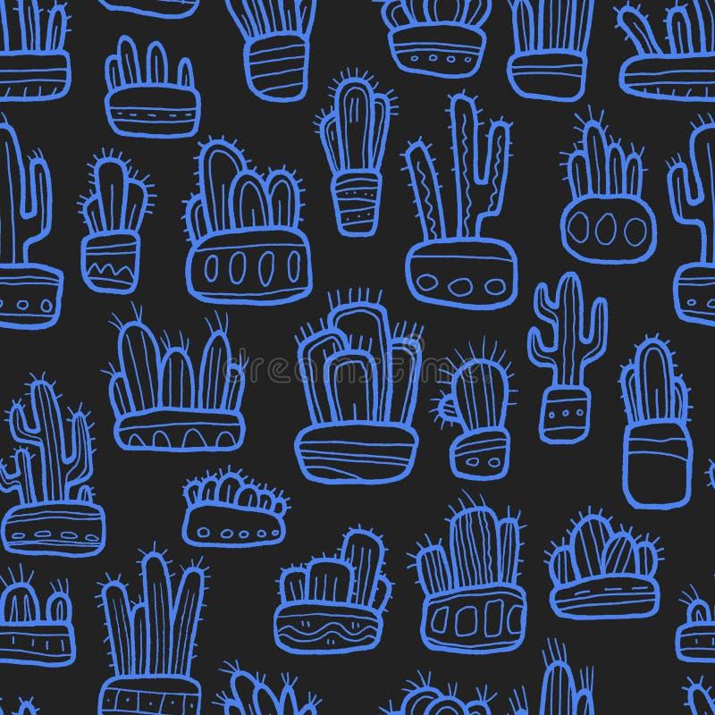 Cactus graphiques tirés par la main dans le modèle sans couture de collection de pots images stock