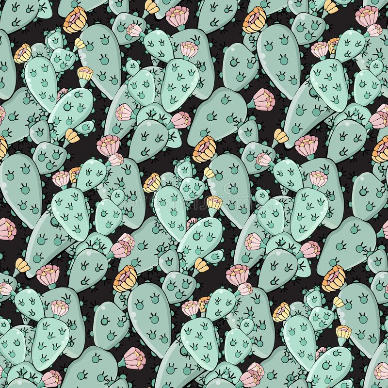 Cactus hand drawn vector seamless pattern. Creative texture Doodle style. Isolated vector object. Opuntia. For wrapping paper,. Textile, background, fabric royalty free illustration