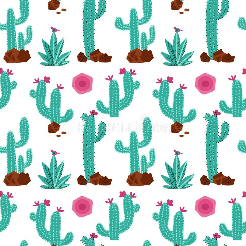 Cactus hand drawn vector seamless pattern. Hand drawn seamless repeat background with succulent plants, stones and sun in mint and vector illustration