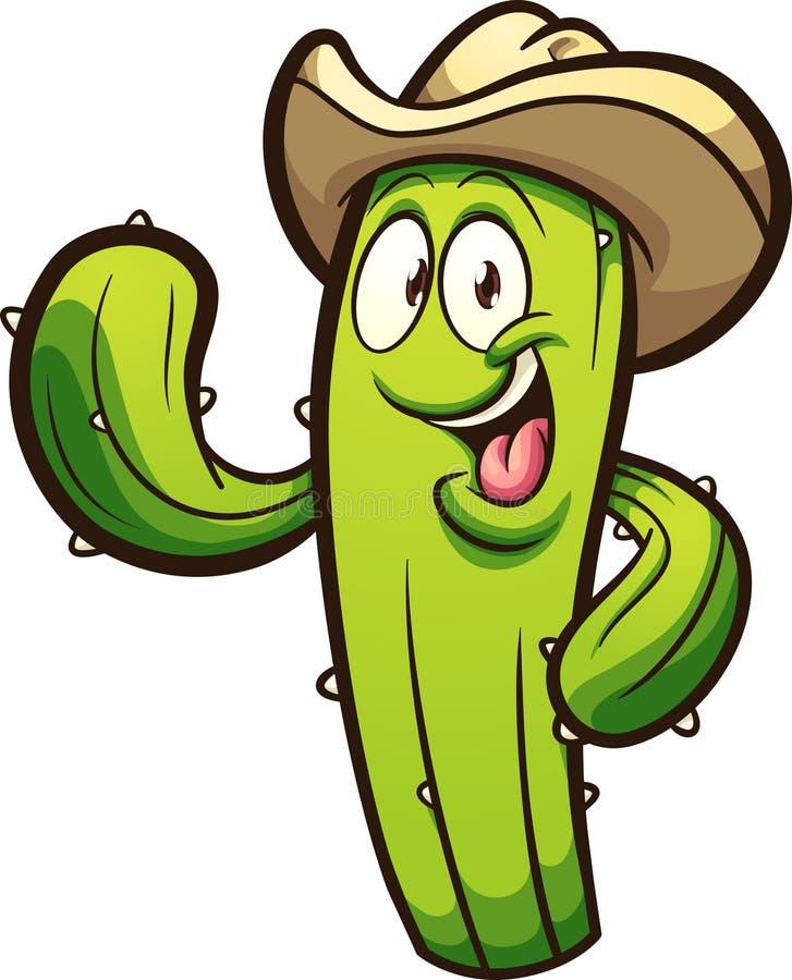 Cactus heureux de bande dessinée utilisant un chapeau de cowboy illustration stock