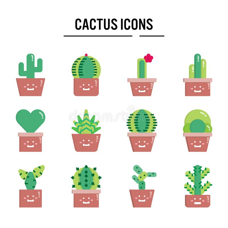 Cactus icon in flat design for web design , infographic , presentation , mobile application - Vector illustration royalty free illustration