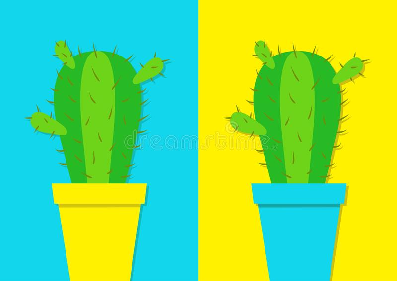 Cactus icon in flower pot icon set. Desert prikly thorny spiny plant. Minimal flat design. Growing concept. Bright green houseplan stock illustration