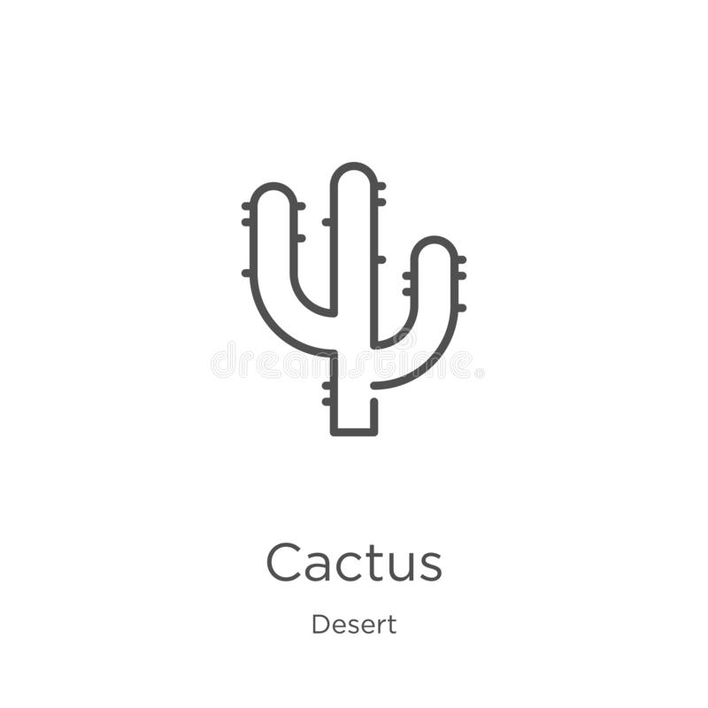 cactus icon vector from desert collection. Thin line cactus outline icon vector illustration. Outline, thin line cactus icon for stock illustration