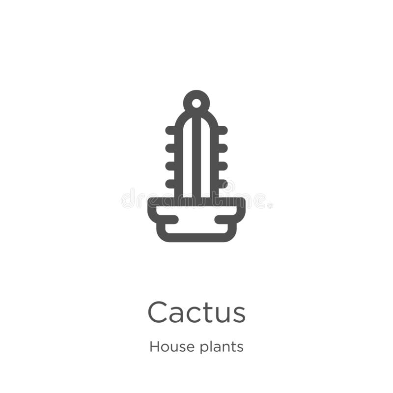 cactus icon vector from house plants collection. Thin line cactus outline icon vector illustration. Outline, thin line cactus icon stock illustration