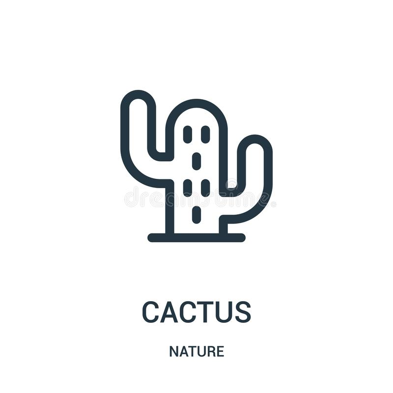 cactus icon vector from nature collection. Thin line cactus outline icon vector illustration. Linear symbol for use on web and royalty free illustration