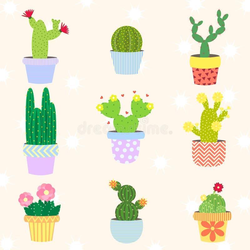 Cactus lindo fijado en maceta Ilustración stock de ilustración
