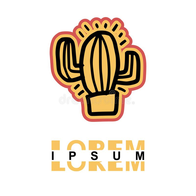 Cactus logo in cartoon images on paper. can be applied to various media either paper or plastic. This Cactus logo with orange and. Pink lines can be used for vector illustration