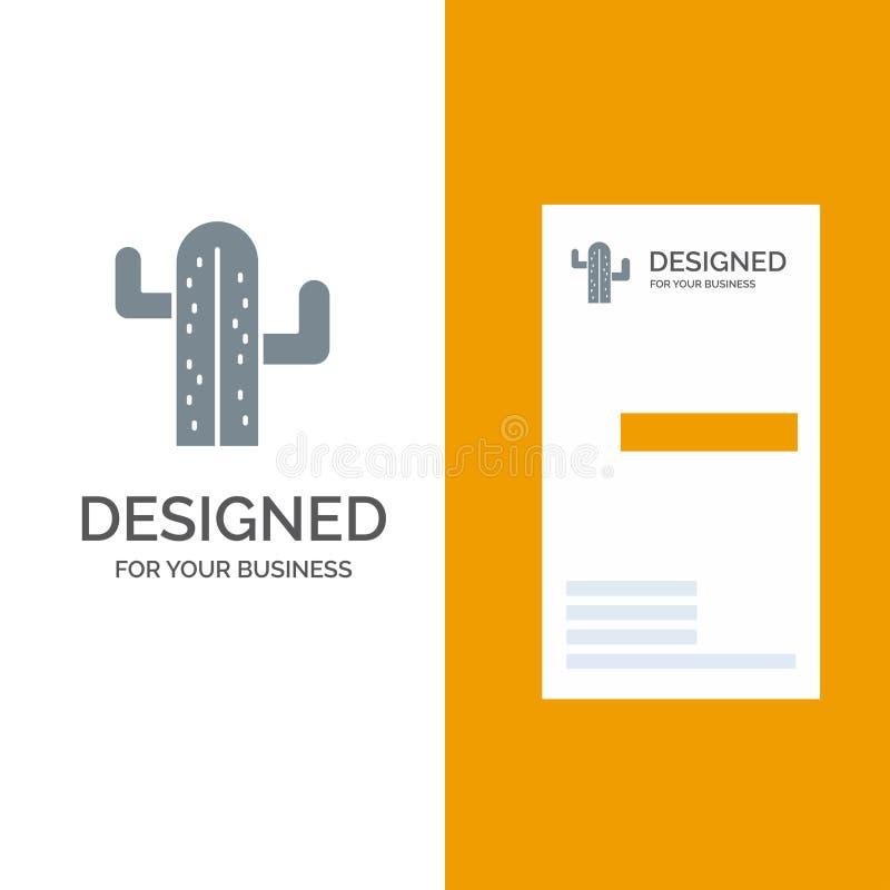 Cactus, los E.E.U.U., planta, americano Grey Logo Design y plantilla de la tarjeta de visita libre illustration
