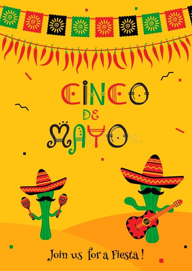 Cactus mariachi cinco de mayo party invitation. Funny cinco de mayo festival invitation poster. Festive yellow design with two cactus mariachi in sombrero with vector illustration