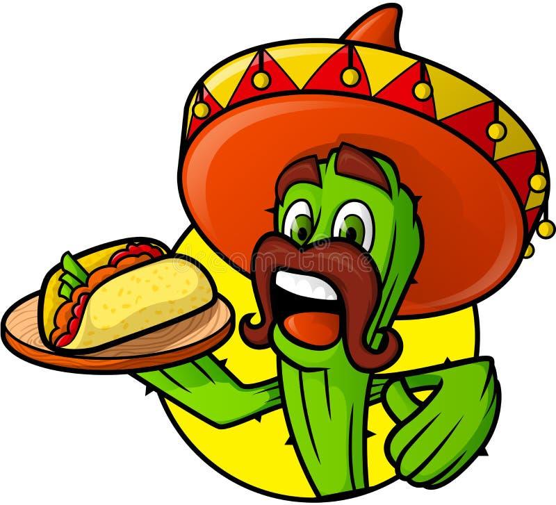 Cactus messicano con il taco royalty illustrazione gratis