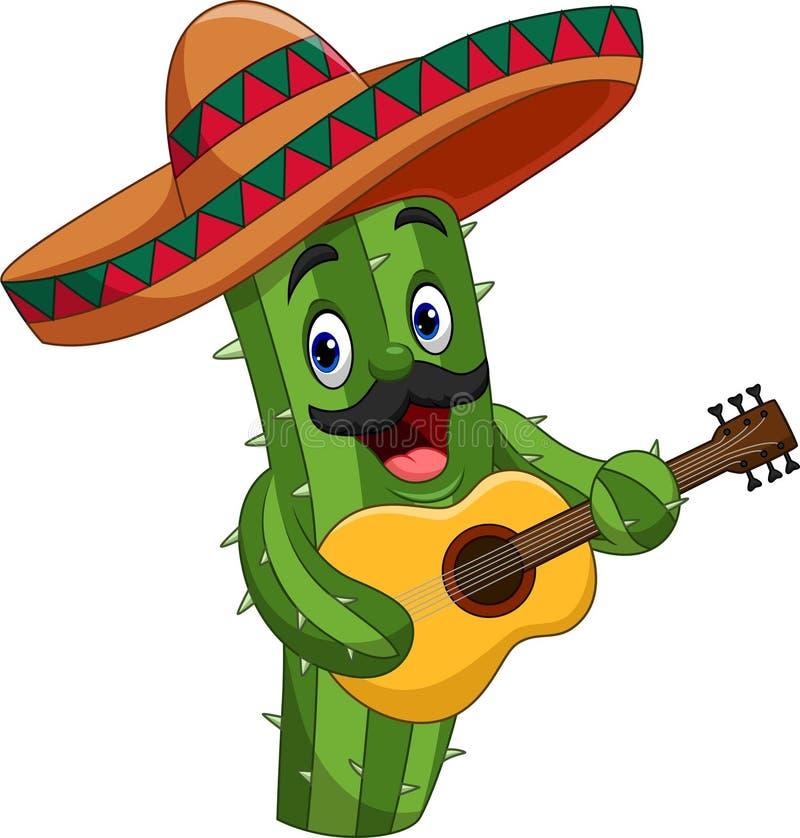 Cactus messicano del fumetto che gioca chitarra illustrazione di stock