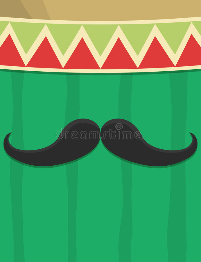 Cactus and Mexican hat background. Design vector illustration