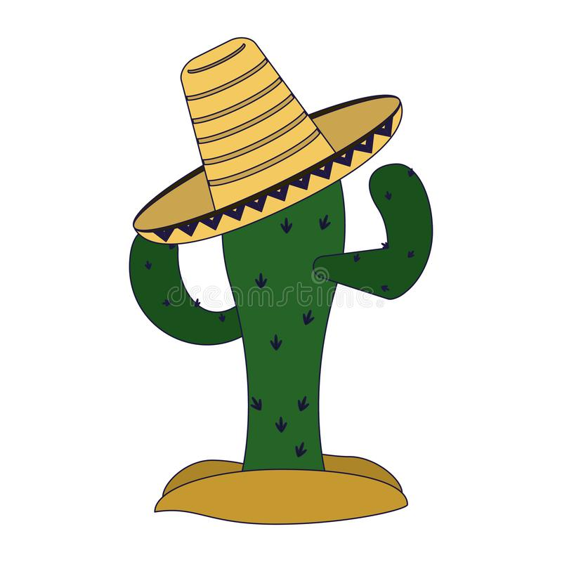 Cactus with mexican hat. Vector illustration graphic design stock illustration