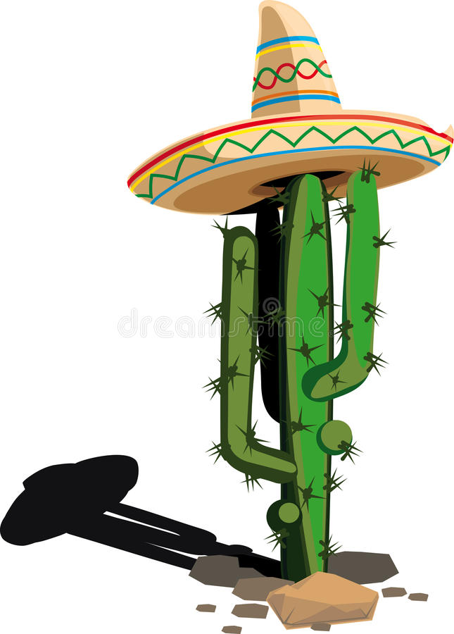 Cactus in the Mexican hat vector illustration
