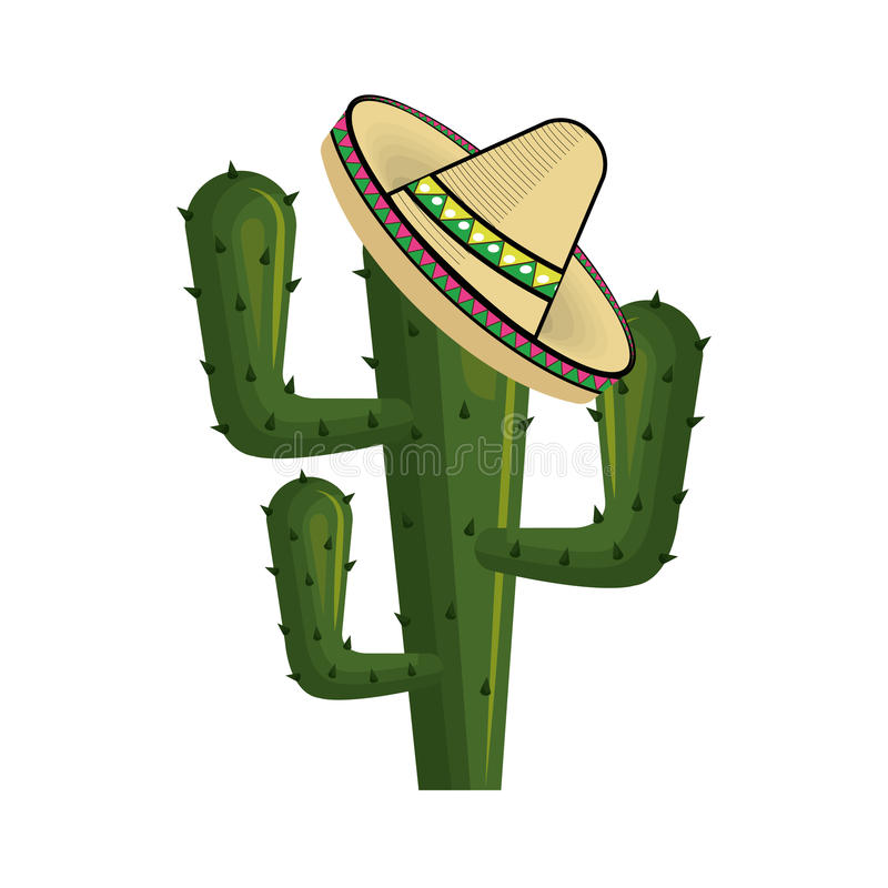 Cactus with mexican hat with thorns. Vector illustration royalty free illustration
