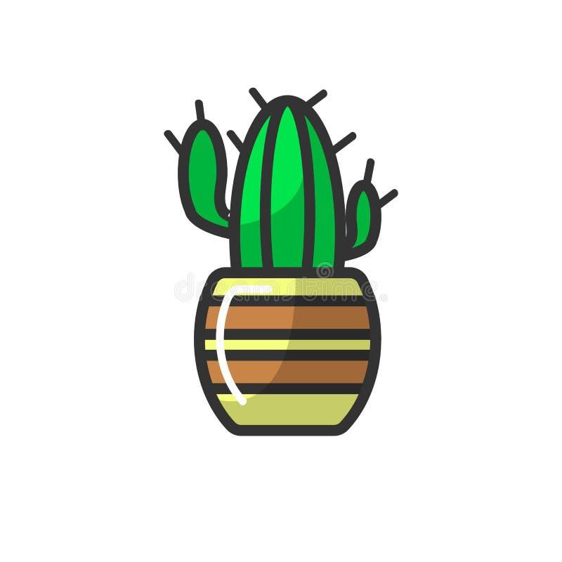 Cactus mexicano en el pote rayado aislado en el fondo blanco stock de ilustración
