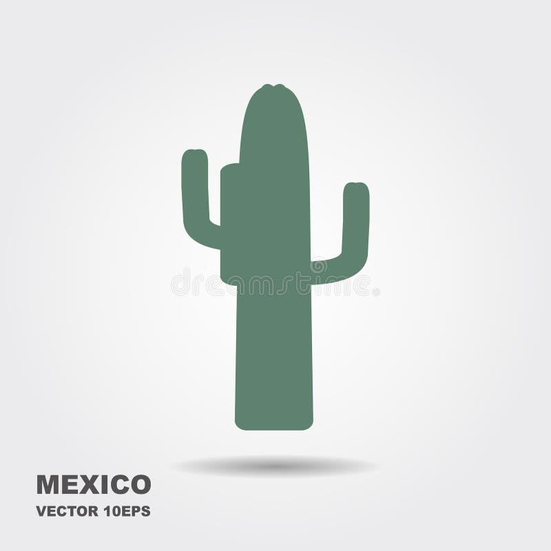Cactus mexicano Icono plano estilizado con la sombra ilustración del vector
