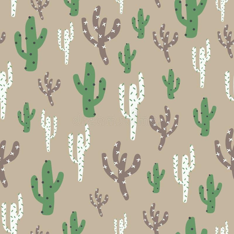 Cactus mignon de nature verte, brune, blanche illustration de vecteur