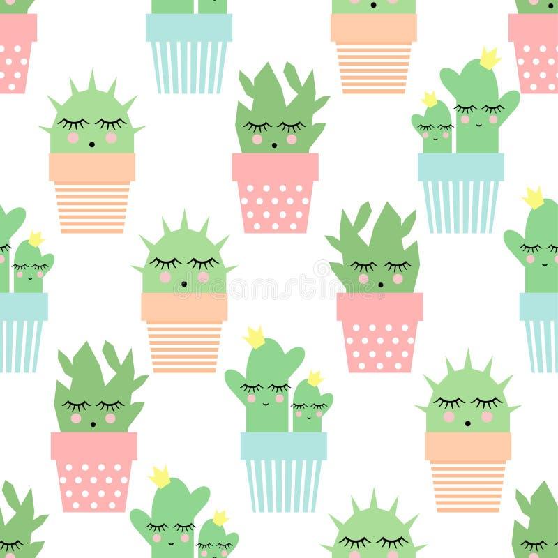 Cactus nel modello senza cuciture dei vasi svegli Illustrazione semplice di vettore della pianta del fumetto illustrazione vettoriale