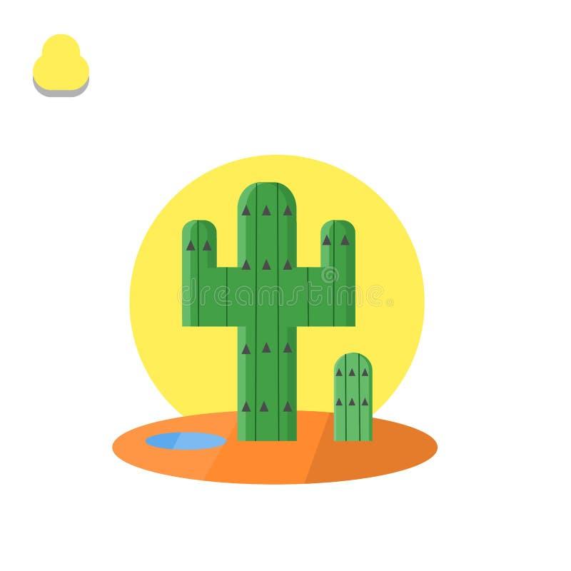 Cactus nell'illustrazione del deserto illustrazione vettoriale