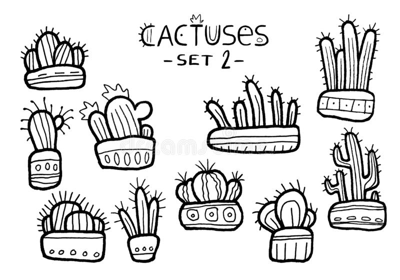 Cactus noirs et blancs tirés par la main dans des pots drôles d'isolement sur l'ensemble blanc de fond photo libre de droits