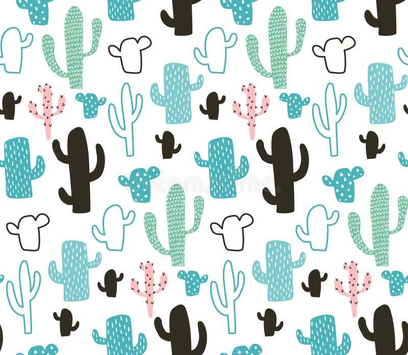 Cactus pattern royalty free illustration