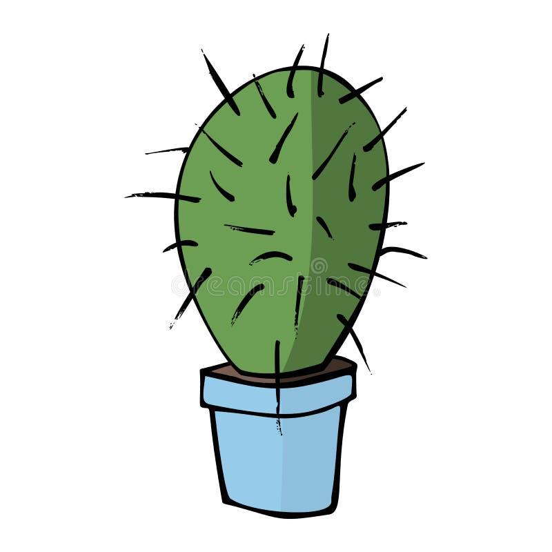 Cactus plano del vector en pote azul ilustración del vector